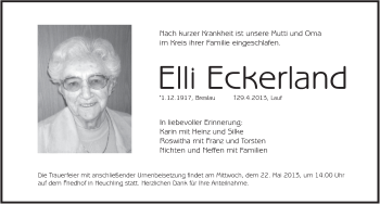 Zur Gedenkseite von Elli Eckerland